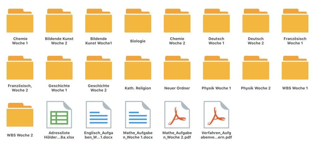 Die Ordnerstruktur haben wir selbst angelegt. Die Aufgaben kommen per Mail.