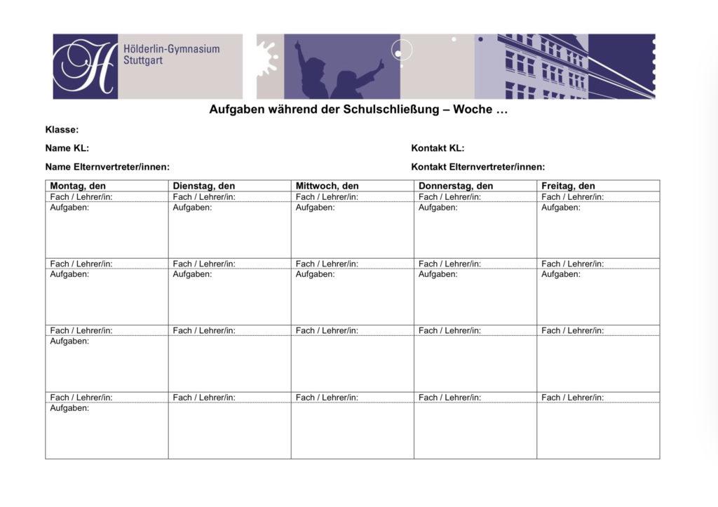 Formblatt: Aufgaben während der Schulschließung
