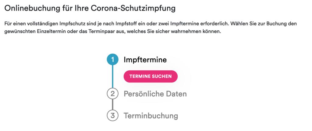 Screenshot: Impftermine [Termine suchen]