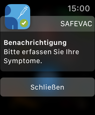 Screenshot der Apple Watch: Benachrichtigung von SafeVac  Bitte erfassen Sie Ihre Symptome.