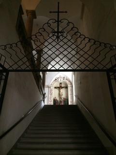 """[Bild:Aufgang zur """"Stiegenkirche""""]"""
